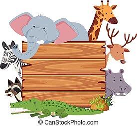 schattig, dieren, plank, leeg