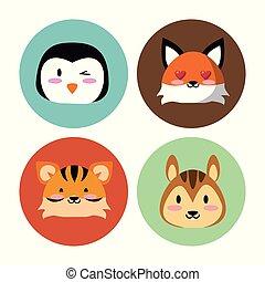schattig, dieren, ronde, iconen