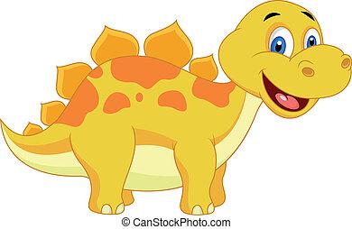 schattig, dinosaurus, spotprent