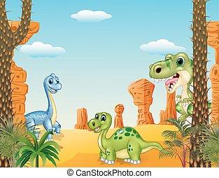 schattig, dinosaurus, verzameling, set