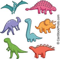 schattig, dinosaurussen, vector, verzameling