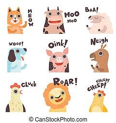 schattig, dog, hen, gezegde, schaap, koe, boerderij, kat, leeuw, varken, illustratie, set, vector, dier, vervaardiging, kuiken, geluiden, spotprent, paarde
