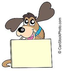 schattig, dog, meldingsbord