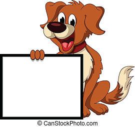 schattig, dog, meldingsbord, vasthouden, leeg, spotprent