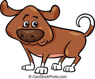 schattig, dog, spotprent, illustratie