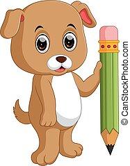 schattig, dog, vasthouden, potlood