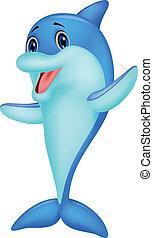schattig, dolfijn, spotprent