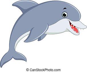 schattig, dolfijn, springt