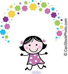 schattig, doodle, meisje, juggling, met, bloemen