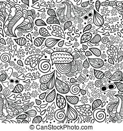 schattig, doodle, pattern., seamless, hipster, spotprent