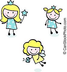 schattig, doodle, prinsesje, verzameling, vrijstaand, op wit, -, blauwe