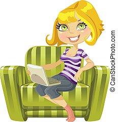 schattig, draagbare computer, groene, blonde , stoel, meisje