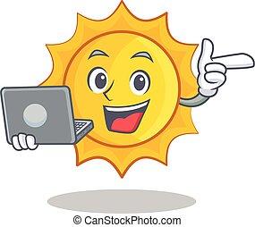 schattig, draagbare computer, karakter, spotprent, zon