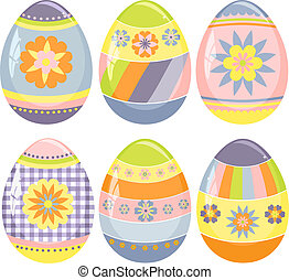 schattig, eitjes, pasen, verzameling