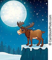 schattig, eland, spotprent, in, de, winter, nacht, achtergrond