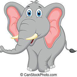schattig, elefant, spotprent