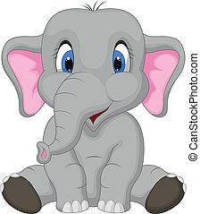schattig, elefant, spotprent, zittende