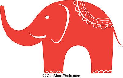schattig, elephant., indiër, character., dier