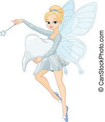 schattig, elfje, vliegen, tand