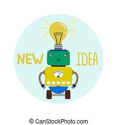 schattig, embleem, jongen, robot, idee, nieuw