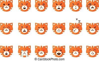 schattig, emoticons, gekke , set, anders, emoties, kat, vector, achtergrond, katje, illustraties, witte , emoji