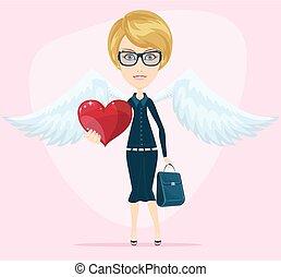 schattig, engel, begroetende kaart, valentijn