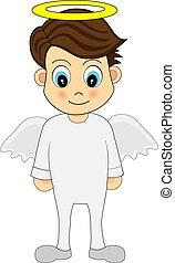schattig, engel, jongen