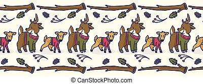 schattig, fauna, border., hertje, seamless, hinde, vector, bos, getrokken, hand, spotprent, tile.