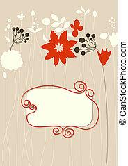schattig, floral, achtergrond, frame, voor, tekst