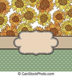 schattig, floral, frame, achtergrond