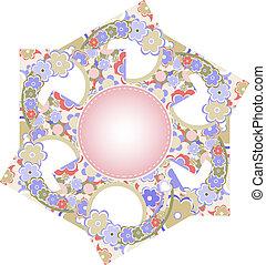 schattig, flowers., vector, kaart, illustratie