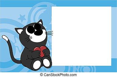 schattig, fotolijst, valentijn, achtergrond, baby, kat