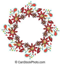 schattig, frame, bloemen, kleurrijke