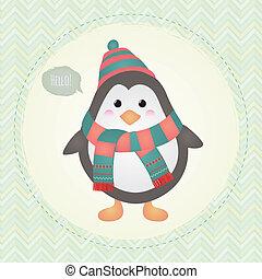 schattig, frame, illustratie, ontwerp, textured, penguin