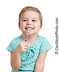 schattig, geitje, meisje, borstelende teeth, vrijstaand, op wit, achtergrond