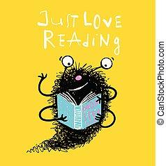 schattig, geitjes, monster, boek, lezende , mascotte