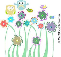 schattig, geitjes, uilen, achtergrond, bloemen, vogels