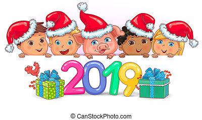 schattig, geitjes, varken, 2019, jaar, spandoek