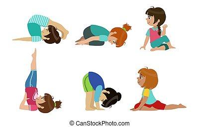 schattig, geitjes, yoga, set, gedresseerd, illustratie, gezonde , vector, activiteit, oefeningen, levensstijl, lichamelijk