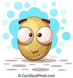 schattig, gek, aardappel, -, spotprent, illustratie