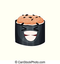 schattig, gekke , karakter, sushi, illustratie, gezicht, vector, het glimlachen, rol, spotprent