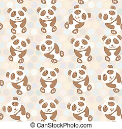 schattig, gekke , polka, pattern., achtergrond., vector, punt, panda, achtergrond
