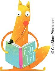 schattig, gekke , vos, book., lezende , spotprent