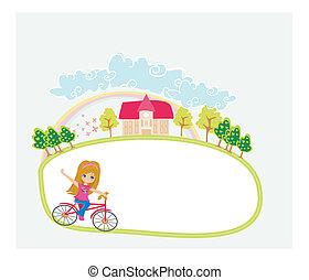 schattig, geleider, abstract, -, jong meisje, fiets, het glimlachen, frame, vrolijke