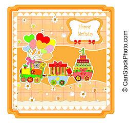 schattig, gelukkige verjaardag, kaart, met, trein