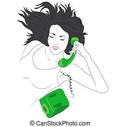 schattig, gelukkige vrouw, jonge, telefoon
