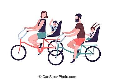 schattig, gezin, het glimlachen, outdoors., vader, bicycling., sporten, bicycles, bicyclists, ouders, moeder, paardrijden, vrolijke , plat, tandem, spotprent, geitjes, illustration., bikes., gedresseerd, kinderen, vector, activiteit, of