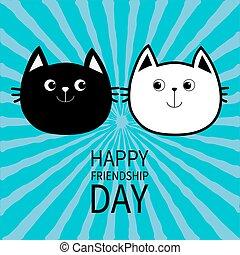 schattig, gezin, snorhaar, ontwerp, omtrek, blauwe , gekke , card., aanhalen, set., karakter, day., achtergrond., black , witte , vrolijke , vlak hoofd, paar, starburst, katje, verzameling, baby, spotprent, groet, kat, icon., vriendschap