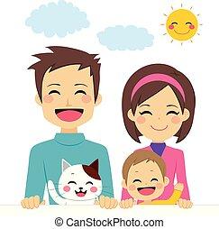 schattig, gezin, vrolijke