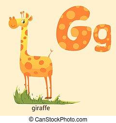 schattig, giraffe, brief g